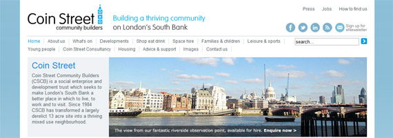 Coin Street Community Builders New Homepage