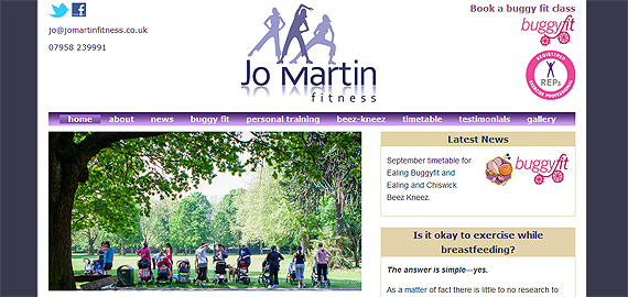 Jo Martin Fitness - a new site by ee web design and development