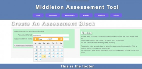 create assessment block