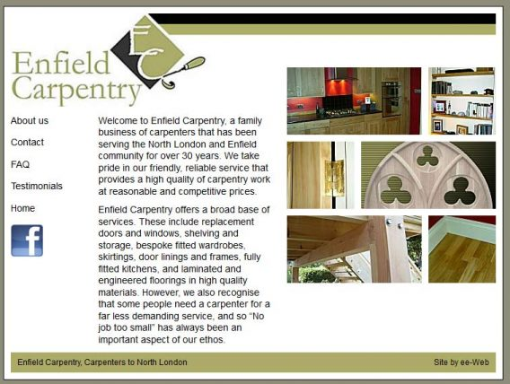 enfield carpentry old site - enter the museum of the internet